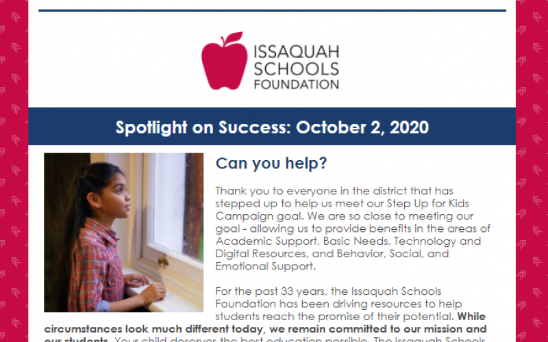 Spotlight on Success: October 2, 2020 Article Image