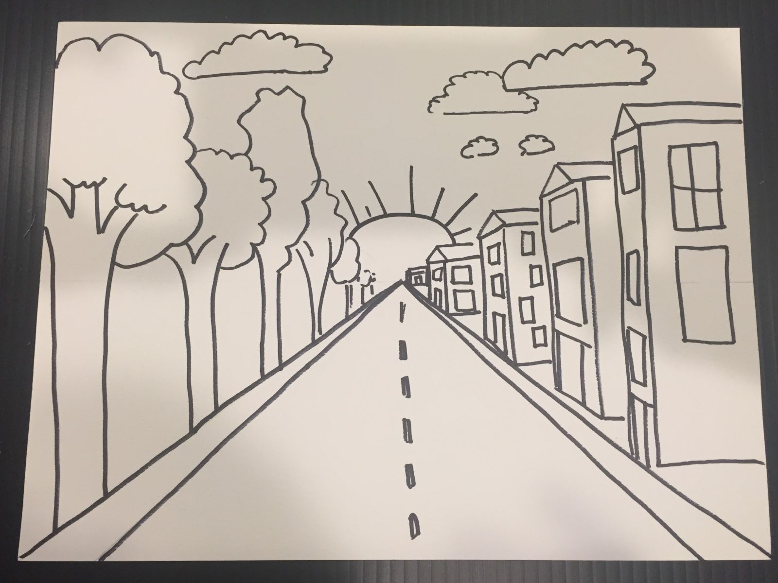 One Point Perspective Drawing Art